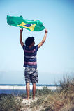 Happy Brasil supporter royalty free stock images