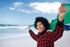 Happy Brasil supporter Stock Photo