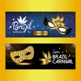 Happy Brazilian Carnival Day. Blue and Black carnival banners wi. Th creative typography and elegant masks. For web design and application interface, also useful Stock Photos
