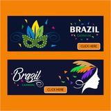 Happy Brazilian Carnival Day. blue carnival banners with typogra. Phies and elements. For web design and application interface, also useful for infographics Royalty Free Stock Image
