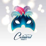 Happy Brazilian Carnival Day. blue carnival mask with colorful f royalty free illustration