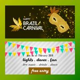 Happy Brazilian Carnival Day. brown and white carnival banners w. Ith typography, elements and sample text. For web design and application interface, also useful Royalty Free Stock Image
