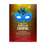 Happy Brazilian Carnival Day. colorful abstract carnival brochur. E with blue mask, fire crackers and white typogrpahy and sample text. For web design and Royalty Free Stock Photos