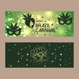 Happy Brazilian Carnival Day. Green carnival banners with typogr. Aphies. For web design and application interface, also useful for infographics. Vector Royalty Free Stock Images