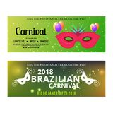 Happy Brazilian Carnival Day. green color carnival banners with. Typographies, sample text and masks. For web design and application interface, also useful for Stock Image