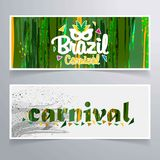 Happy Brazilian Carnival Day. green and white carnival banners w. Ith typographies. For web design and application interface, also useful for infographics Stock Image
