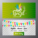 Happy Brazilian Carnival Day. Green and White carnival banners w royalty free illustration