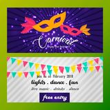 Happy Brazilian Carnival Day. purple and white banners of carniv. Al with flags, masks, typography and sample text. For web design and application interface Stock Photo