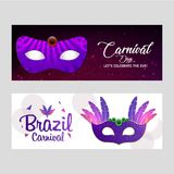 Happy Brazilian Carnival Day. Purple and White color banners wit. H creative typographies and purple masks. For web design and application interface, also useful Stock Photography