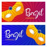 Happy Brazilian Carnival Day. red and blue carnival banners with. Golden masks and whtie typographies. For web design and application interface, also useful for Stock Photo