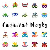 Happy Brazilian Carnival Day. Set of 20 carnival colorful masks. On white background. For web design and application interface, also useful for infographics Royalty Free Illustration