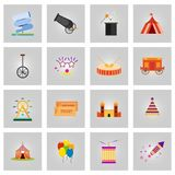 Happy Brazilian Carnival Day. Set of 16 colorful carnival circus. Elements. For web design and application interface, also useful for infographics. Vector stock illustration