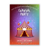 Happy brazilian carnival festival. carnival colorful brochure ha. Ving circus tent, balloons, typography and sample text on grey background. For web design and vector illustration