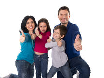 Happy Brazilian family mother and father playing with little son and daughter having fun Royalty Free Stock Photo