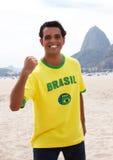 Happy brazilian sports fan at Rio de Janeiro Stock Photography