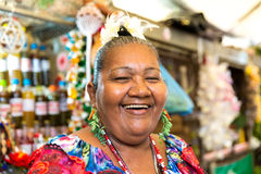 Happy Brazilian woman at Belem do Para in Brazil Stock Photo