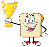 Happy Bread Slice Cartoon Mascot Character Holding Up A Trophy Stock Image