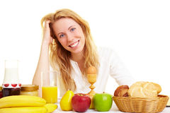 Happy at breakfast Royalty Free Stock Image