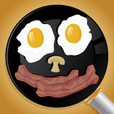 Happy Breakfast face in Frying Pan. Royalty Free Stock Photography