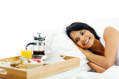 Happy breakfast woman Stock Photography
