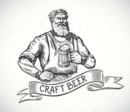 Happy brewer in engraving style. Stock Images