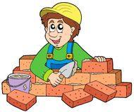 Happy bricklayer Royalty Free Stock Image