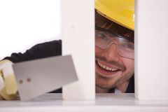 Happy bricklayer Stock Photos
