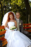 Happy bridal. Me and my wife sitting Stock Photo