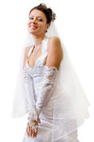 Happy bride. On a white background royalty free stock photos