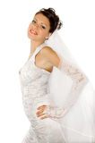 Happy bride. On a white background royalty free stock photo