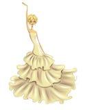 Happy bride. Fashion illustration featuring a happy bride in posh creamy dress Stock Photo
