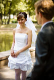Happy bride. Happy young bride looks at the lovely bride royalty free stock photo