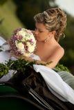 Happy bride. Outdoor shot, day light stock photos