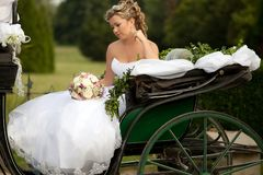 Happy bride. Outdoor shot, day light royalty free stock photo