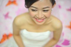 Happy bride. Happy smiling Asian bride portrait royalty free stock photos