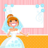 Happy bride. Cartoon bride over a decorated frame Royalty Free Stock Photography