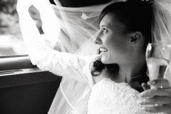 Happy bride. Laughing brunette waving by her bridal veiling, grainy black and white photo Stock Photography