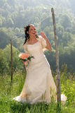 Happy Bride. Young bride posing in the wedding day Stock Photography