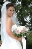 Happy Bride. Up close bridal portrait in a garden Stock Photo