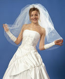 Happy bride. Young beautiful bride holding a veil Royalty Free Stock Photos
