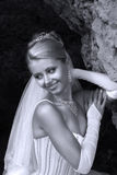 Happy Bride. Beautiful smiles of the bride of the blonde. b/w + blue filter Stock Photos