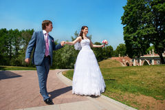 Happy Bride And Groom At Wedding Walk Stock Images