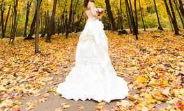 Happy bride on autumn forest royalty free stock images