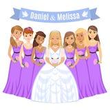 Happy bride. Beautiful bride with bridesmaids. Stock Photography