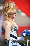 Happy bride with bouquet Royalty Free Stock Photos