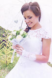 Happy bride with a bouquet, vintage Royalty Free Stock Photos