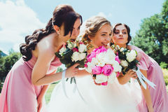 Happy Bride with bridesmaids in the park on the wedding day Stock Photo