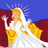 Happy Bride with cartoon background Royalty Free Stock Photo