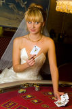 Happy bride in a casino Stock Image