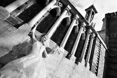 Happy bride in castle Stock Photos